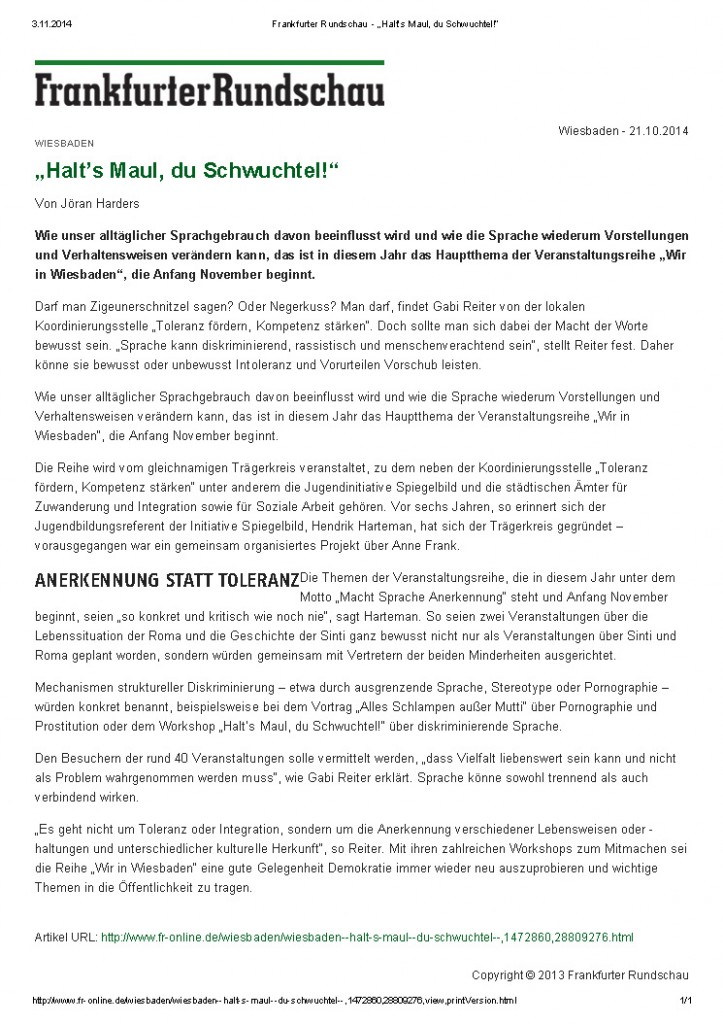 "Frankfurter Rundschau - ""Halt's Maul, du Schwuchtel!"""
