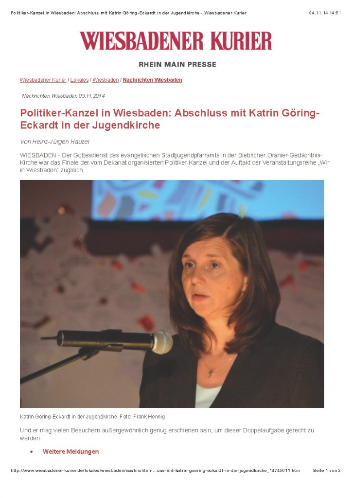 Politiker-Kanzel in Wiesbaden- Abschluss mit Katrin Göring-Eckardt in der Jugendkirche - Wiesbadener Kurier_Seite_1