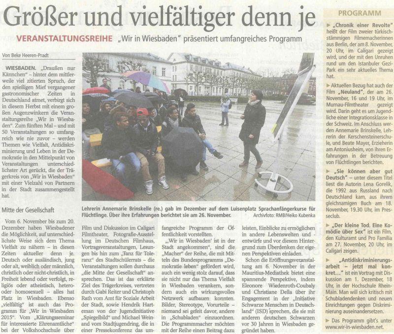 15.10.2015 Wiesbadener Tagblatt: Größer und vielfältiger denn je