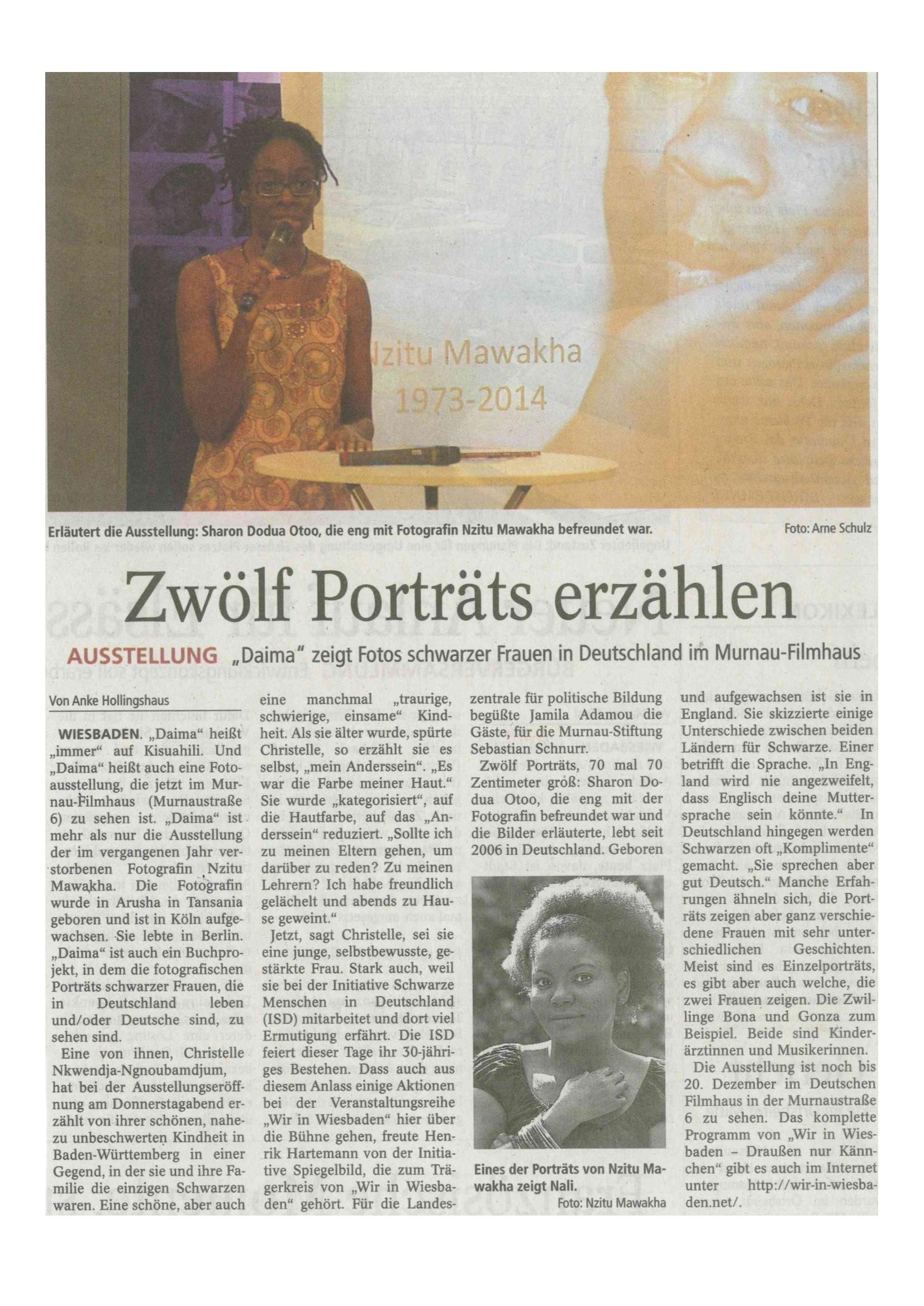 2015-11-14_Wiesbandener Tagblatt – Zwölf Porträts erzaehlen