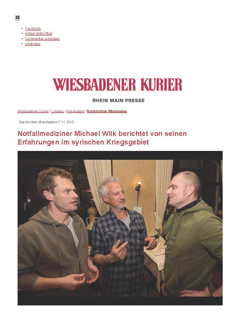 17.11.2015 Wiesbadener Kurier –Notfallmediziner Michael Wilk berichtet von seinen Erfahrungen_Seite_1