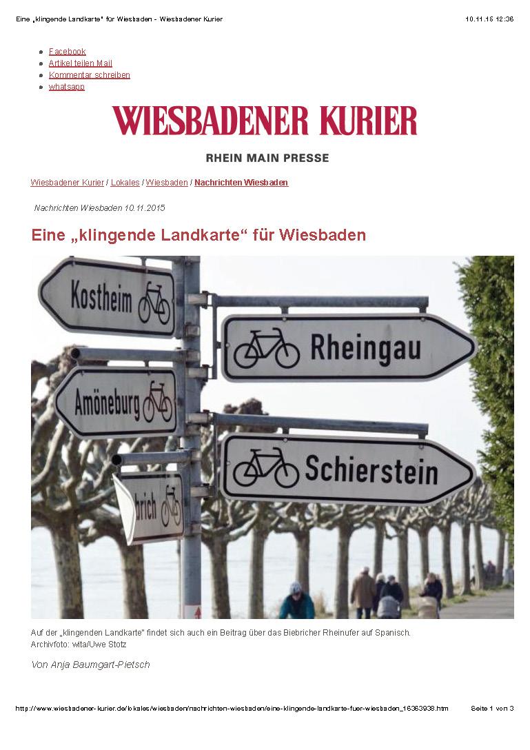 """Eine """"klingende Landkarte"""" für Wiesbaden - Wiesbadener Kurier_Seite_1"""