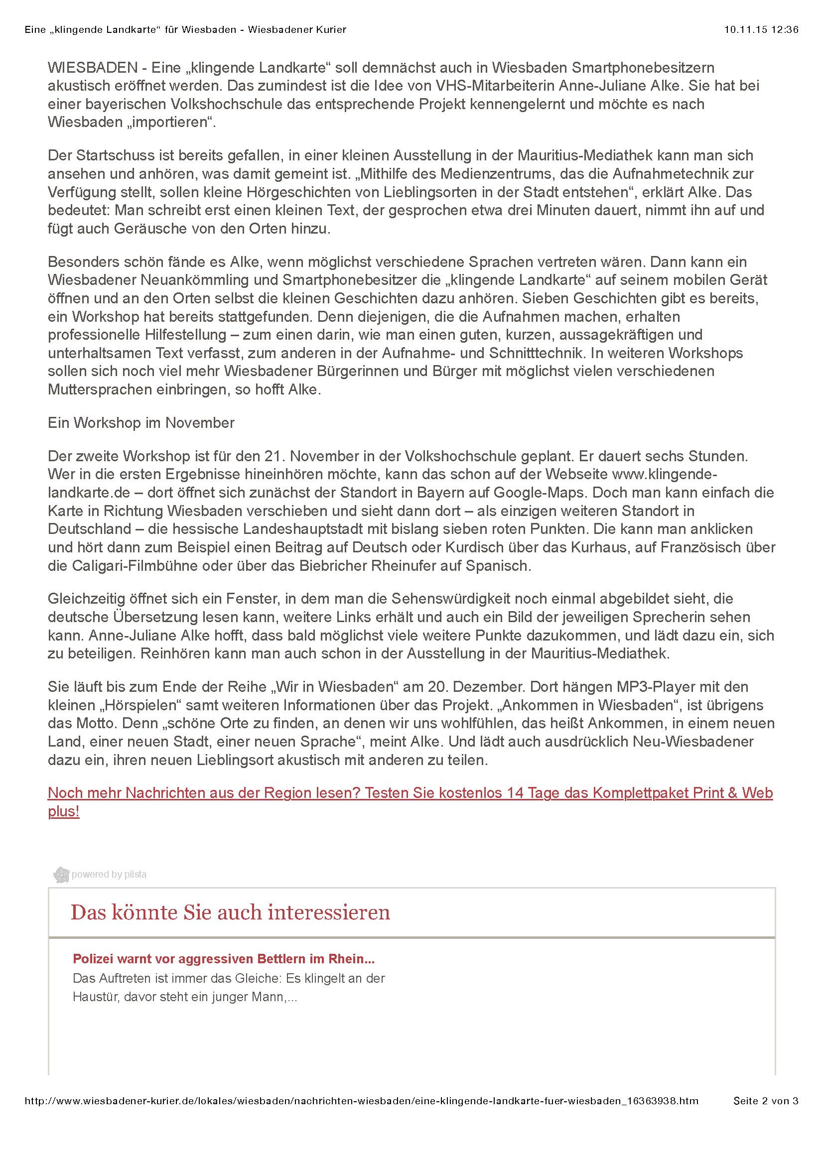 """Eine """"klingende Landkarte"""" für Wiesbaden - Wiesbadener Kurier_Seite_2"""