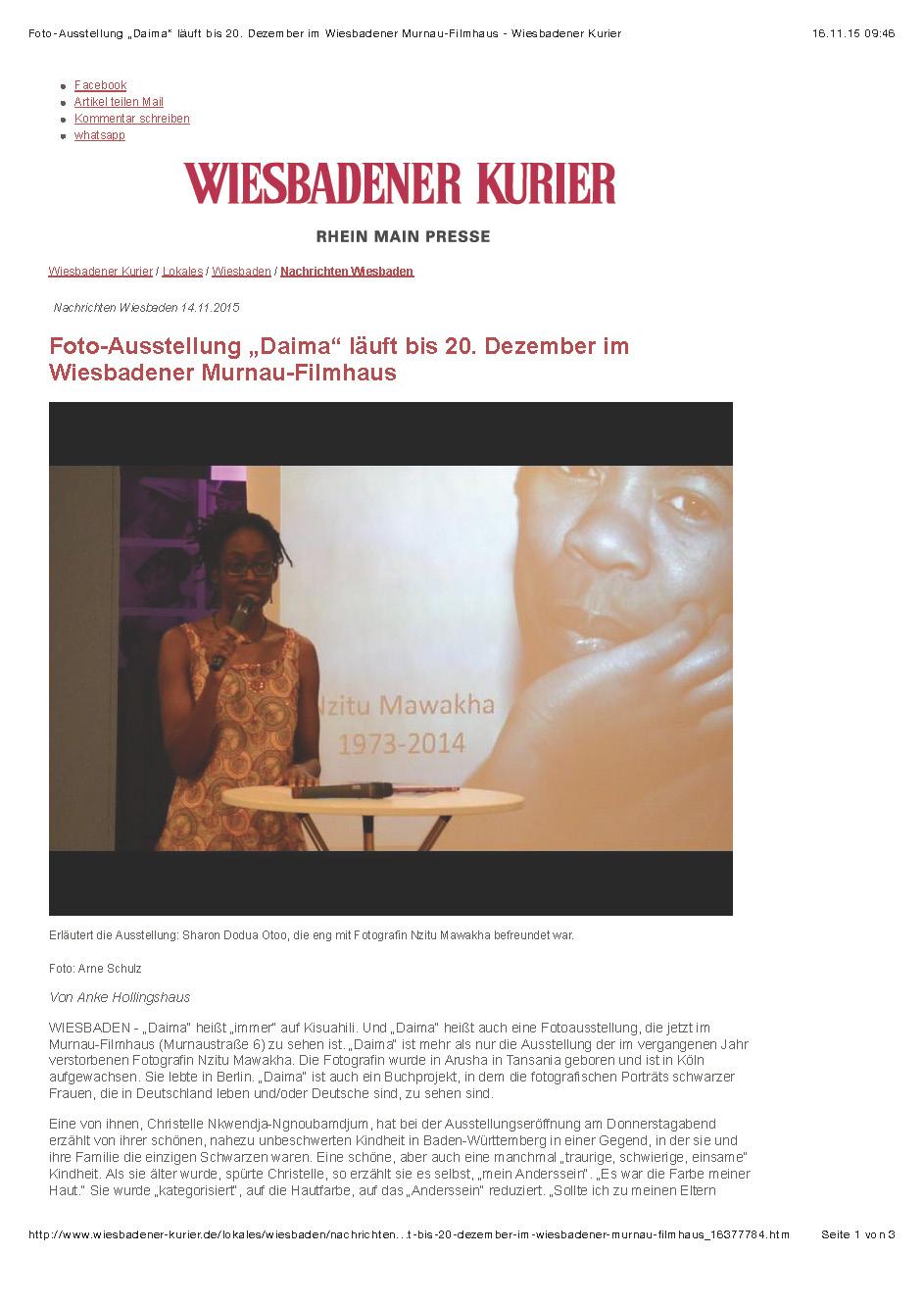 """Foto-Ausstellung """"Daima"""" läuft bis 20. Dezember im Wiesbadener Murnau-Filmhaus - Wiesbadener Kurier_Seite_1"""